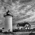 Race Point Lighthouse Sunset Bw by Susan Candelario