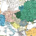 Racial Map Of Europe Circa 1923 by European School