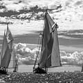 Racing On Open Waters B-w by Joe Geraci