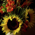 Radiant Sunflowers And Peruvian Lilies by Marie Hicks