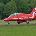 Raf Red Arrows Jet Lands by Philip Pound