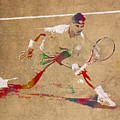 Rafael Nadal Tennis Star Watercolor Portrait On Worn Canvas by Design Turnpike