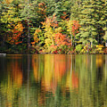 Raft On Autumn Pond by Melinda Schneider