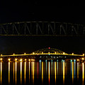 Railroad And Bourne Bridge At Night Cape Cod by Matt Suess