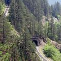 Railroad And Tunnels On Mountain by Goce Risteski