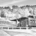 Railroad Crossing And Caboose Black And White by Lisa Wooten