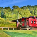 Railroad Crossing And Caboose by Lisa Wooten