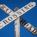 Railroad Crossing Wooden Sign by Garry Gay