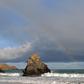 Rainbow Above Sango Bay Sea Stack by Maria Gaellman