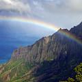 Rainbow Along The Na Pali Coast Kauai Hawaii From The Kalalau Lookout by Brendan Reals
