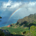 Rainbow At Kalalau Valley by James Eddy