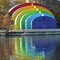 Rainbow Bandshell And Swan by Denise Mazzocco