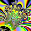Rainbow Butterfly Bouquet Fractal Abstract by Rose Santuci-Sofranko