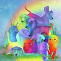 Rainbow Dachshunds 1 by Carol Cavalaris