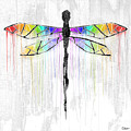 Abstract Dragonfly - White Rainbow by Roly O