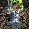 Rainbow Falls In Watkins Glen by Carolyn Derstine