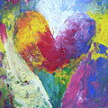 Rainbow Heart In The Cloud Acrylic Paintings by Karen Kaspar