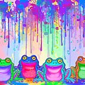Rainbow Of Painted Frogs by Nick Gustafson
