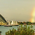 Rainbow Over Riverwalk Landing In Yorktown Virginia by Ola Allen