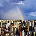Rainbow Over City Skyline - Sao Paulo by Carlos Alkmin