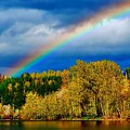 Rainbow Over Mill Pond by David Coleman