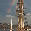 Rainbow Over Tall Ships by Cliff Wassmann