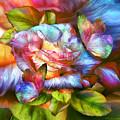 Rainbow Rose And Butterflies by Carol Cavalaris