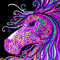 Rainbow Spotted Horse Head 2 by Nick Gustafson