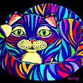 Rainbow Striped Cat 2 by Nick Gustafson