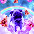 Rainbow Unicorn Pug In The Clouds In Space by Random Galaxy