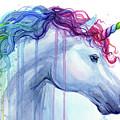 Rainbow Unicorn Watercolor by Olga Shvartsur
