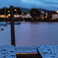 Raindrops On Metal Bench 5 by Marc Daly