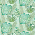 Rainforest Tropical - Elephant Ear And Fan Palm Leaves Repeat Pattern by Audrey Jeanne Roberts