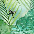 Rainforest Tropical - Philodendron Elephant Ear And Palm Leaves W Botanical Butterfly by Audrey Jeanne Roberts