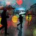 Rainy City Scene by Mal Bray