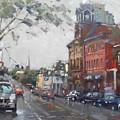 Rainy Day In Downtown Brampton On by Ylli Haruni