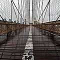 Rainy Day On The Brooklyn Bridge Brooklyn New York Cables by Toby McGuire