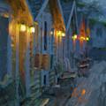 Rainy Night Motel - Painterly by David Gordon