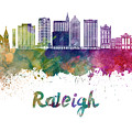 Raleigh V2 Skyline In Watercolor by Pablo Romero