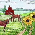 Ranch Horses Red Barn Sunflowers by Irina Sztukowski
