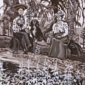 Ranch Women Picking Berries Historical Vignette by Dawn Senior-Trask