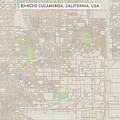 Rancho Cucamonga California Us City Street Map by Frank Ramspott