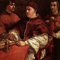 Raphael Pope Leo X With Cardinals Giulio De  Medici And Luigi De  Rossi by PixBreak Art