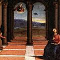Raphael The Annunciation  Oddi Altar Predella  by PixBreak Art