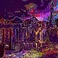 Raven Castle Ruin Trees Sky  by PixBreak Art