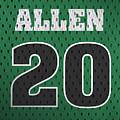 Ray Allen Boston Celtics Retro Vintage Jersey Closeup Graphic Design by Design Turnpike