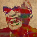 Ray Charles Watercolor Portrait On Worn Distressed Canvas by Design Turnpike