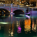 Razzle Dazzle - Colorful Neon Lights Up Canals And Gondolas At The Venetian Las Vegas by Georgia Mizuleva