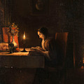 Reading By Candlelight by Attributed to Petrus van Schendel