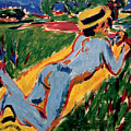 Reclining Blue Nude With Straw Hat by Ernst Ludwig Kirchner